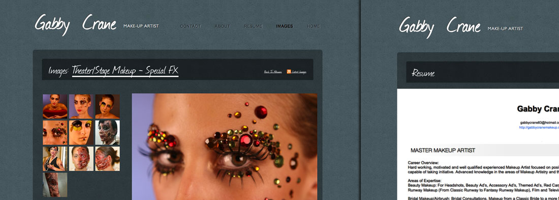 examples of make up artist websites and make up artist