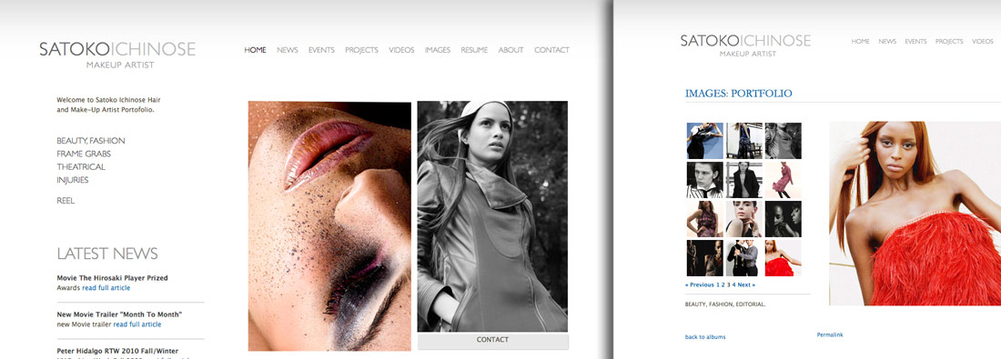 Examples of Make Up Artist Websites and Make Up Artist Portfolios